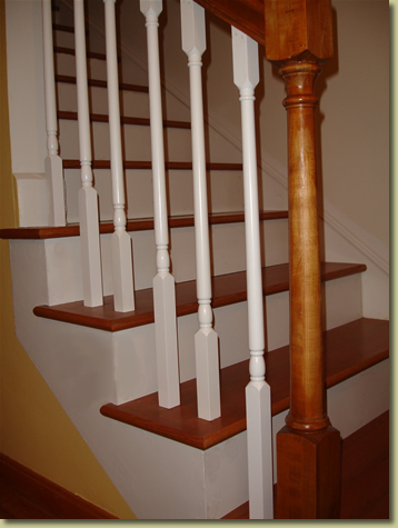 hardwood stair and railing detail